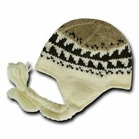 Beige & Khaki Peruvian Beanie Cap Hat Winter Braided Ear Flap Chullo Warm Hats