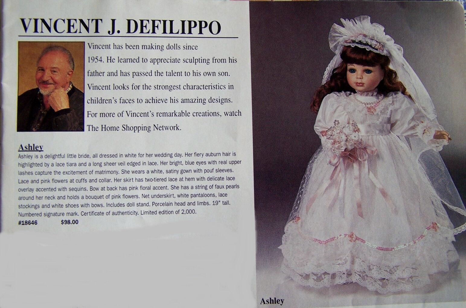 19   19 Design Guild ASHLEY DOLL BRIDE by Vincent J. Fefilippo  LE 3 2000 NRFB 394f09