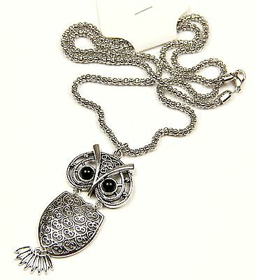 Silver Necklace with Vintage Owl Pendant on Long Chain Gift Retro Ancient