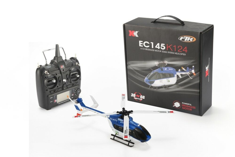 K124 ec145 6 canal 3d6g flybarless helicóptero RTF
