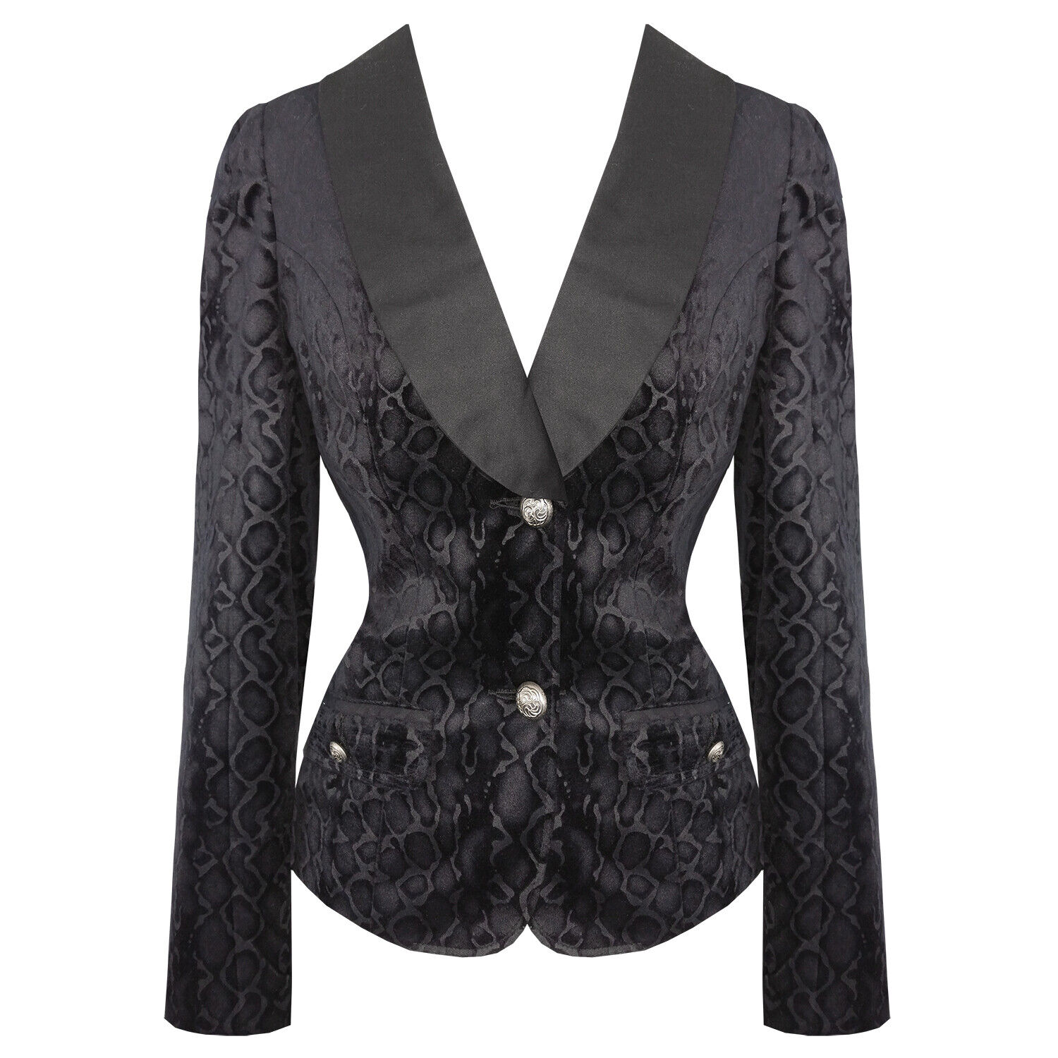 be5c2972505d Hearts and Roses London Black Velvet Leopard Retro Rockabilly Goth Fitted  Jacket