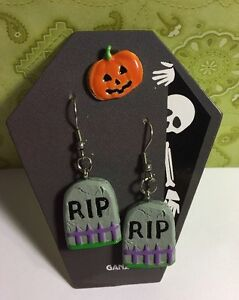 image is loading vintage halloween jewelry pierced earrings rip amp enamel