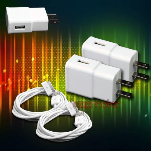 2X 2A POWER ADAPTER+6/' 30PIN USB CABLE CORD CHARGER WHITE IPHONE IPAD IPOD TOUCH