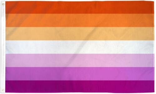 Lesbian Pride Flag 2x3 LGBTQIA Lesbian Pride LGBT Lesbian Sunset Flag WLW Orange