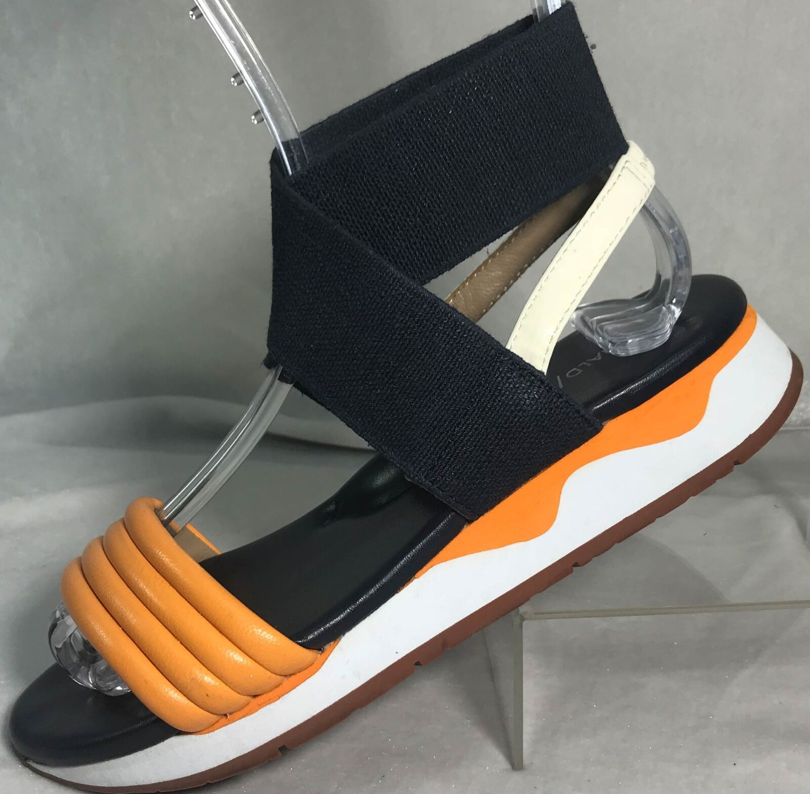 Donald Pliner Shaye 5.5 Navy bluee orange Leather Textile Elastic Strap Sandals
