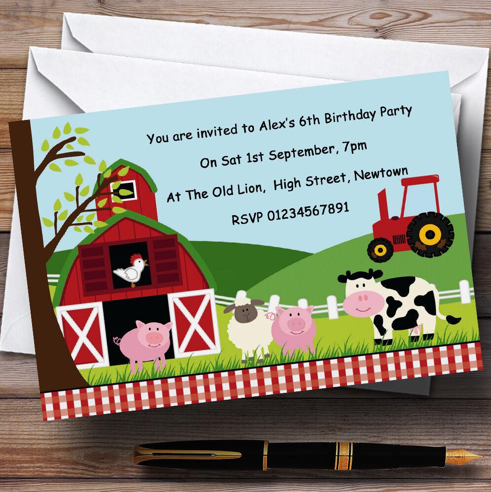 Animali da fattoria fattoria tema Personalizzati Festa di Compleanno Compleanno Compleanno Inviti-th33 37101a