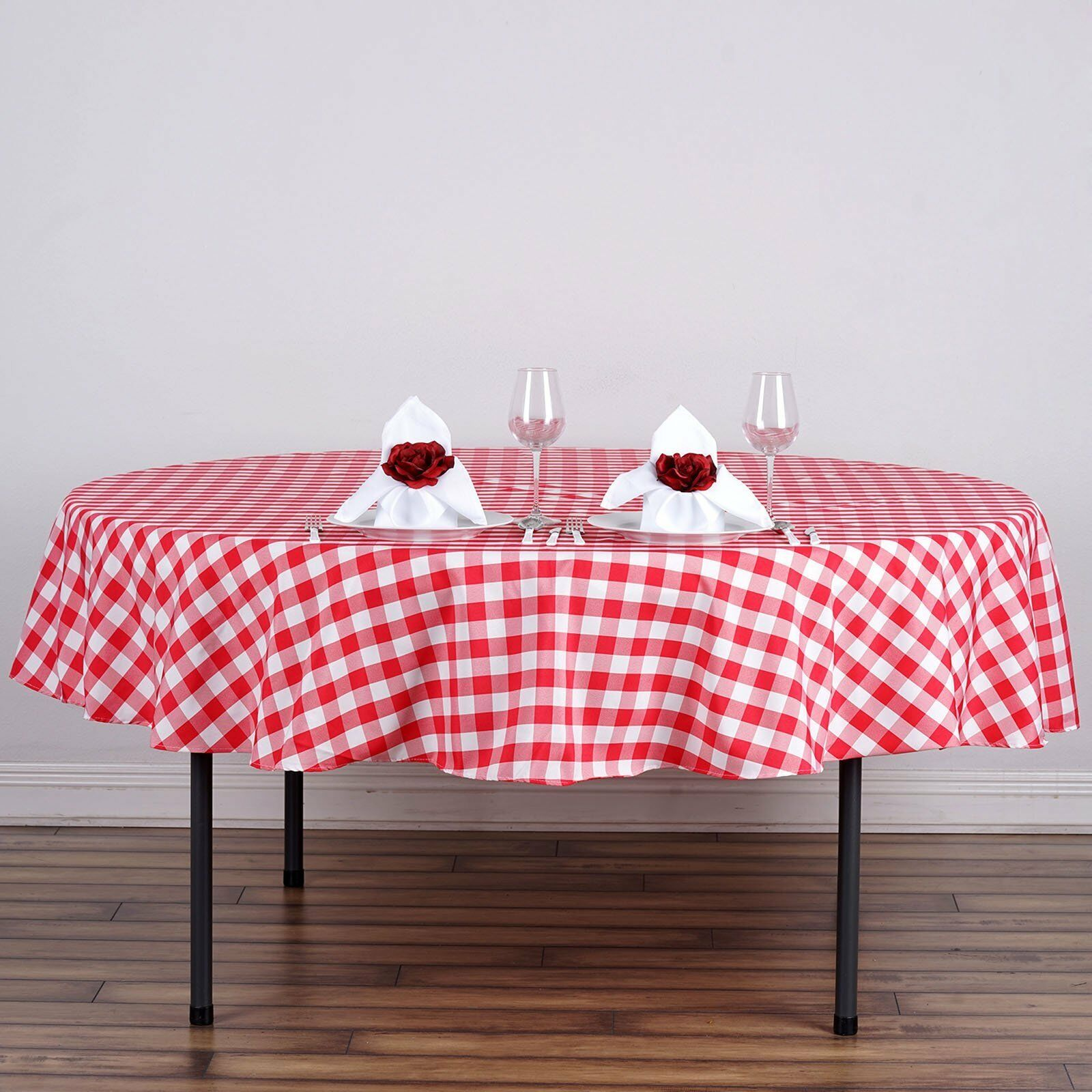 Round Polyester Gingham Checkered Seamless Picnic Tablecloth Party 90 inch