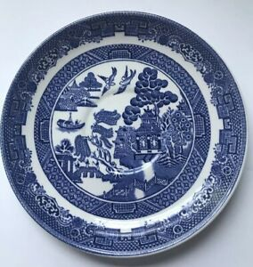 Johnson-Brothers-China-Set-Of-2-Plates-Willow-Blue-Made-In-England-Saucers