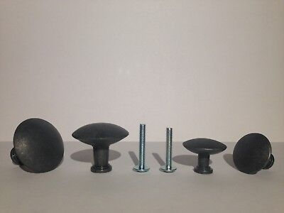 6 Hemnes Black Knobs with screws 117615