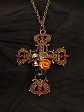 Anhänger + Kette Steampunk gothic vintage Kreuz ,Totenkopf, Rose  Modeschmuck 1a