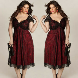 Details about Plus Size Women Cute Sleeveless Lace Long Evening Party Prom  Gown Formal Dress