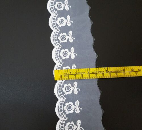 2 inch 5cm wide 5-10 yds White Scallop Embroideries Flower Tulle Lace L556