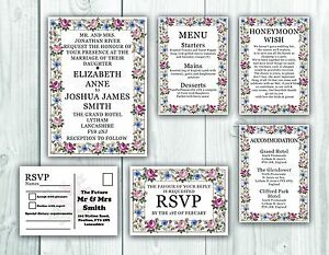 Personalised-HANDMADE-Floral-Wedding-Day-Invites-Evening-Invitation-Envelope