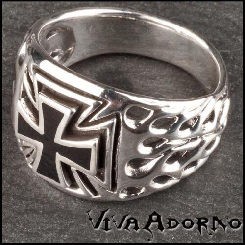 925 plata sello anillo pulgar anillo cruz cruz llamas Biker Iron Cross sr13