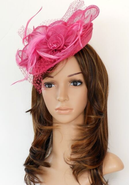 New Church Derby Cocktail Wedding Sinamay Fascinator Hat Veil Headband Hot Pink1