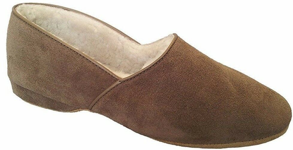 Draper Glastonbury Anton Nut Taupe Brown Shearling Suede Leather Slipper 10 45