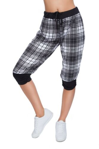Womens 3//4 Checked Neon Cargo Pants with Drawstring Capri Baggy Trousers H2018
