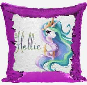 Personnalisé My Little Pony tout nom Magic Reveal Rose Paillettes Housse De Coussin