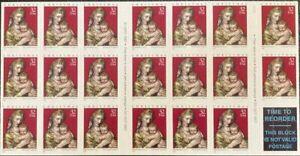 1998 Madonna & Child Christmas booklet of twenty 32 cent stamps