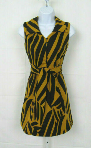 VTG 1960s MOD ACT I SCOOTER DRESS & BELT MAIZE & B