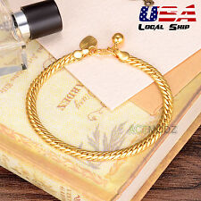 Chic Men 24k Gold Plated Curb Cuban Link Chain Bracelet Pendant Cuff Bangle Gift