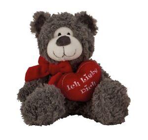 Teddybär Grau mit Herz Ich liebe dich 17 cm Teddy Plüschtier Kuscheltier Bär