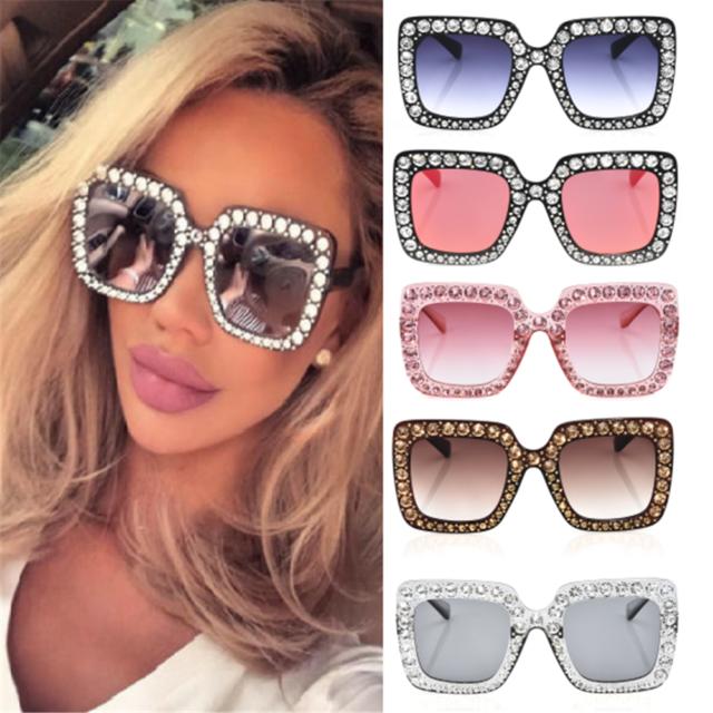 2018 NEW Fashion Oversized Square Frame Rhinestone Bling Sunglasses Women Shades