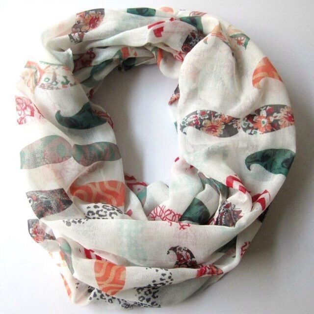 NEW INFINITY LIGHTWEIGHT POLYESTER SCARF - OFF WHITE MULTI COLOR