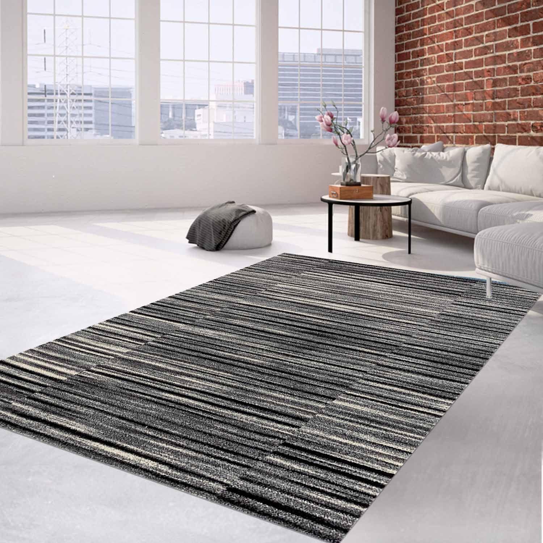 Teppich Flachflor Modern Meliertes Meliertes Meliertes Streifen-Muster in Anthrazit für Wohnzimmer f979b4