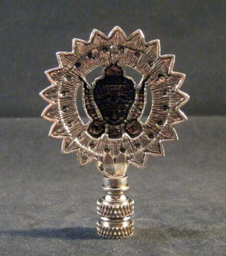 Lamp Finial-Antique Silver TIBETAN SUN GOD Lamp Finial-Satin Nickel Base