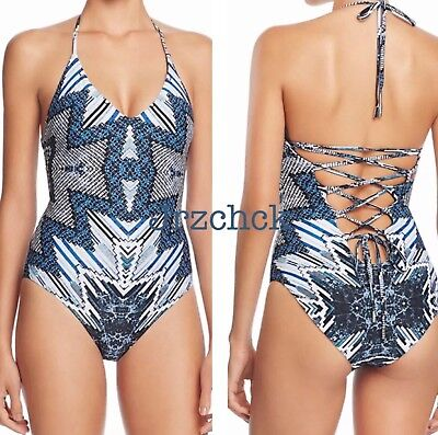RED CARTER S M L One Piece Halter Lace-Up Back Multi Swimsuit Tie Dye $185