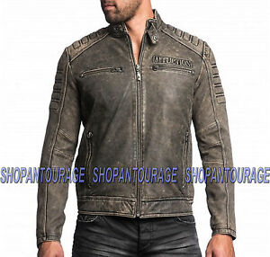 New Affliction T Leather 110ow216 Free Iron 39 Head shirt Genuine Men's Jacket FFqfwC