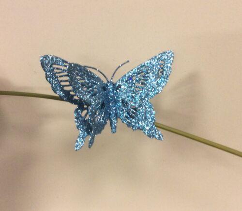 6er Pack mit Glitzer Schmetterlinge 15.2cm Weihnachtsdekorationen eisblau