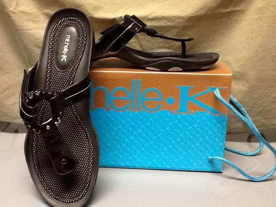 michelle k cuir vernis noir noir noir string diapositive sandale 11 462c62