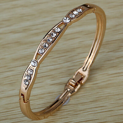 Elegant New Rose Gold Hollow Inlay Shiny Crystal Bracelet Bangle Gift Lady