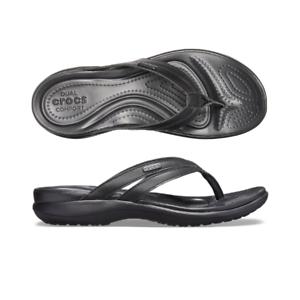 d47f87647a5 Womens Crocs Capri Basic Strappy Flip Black Black Sandal Flip Flop ...