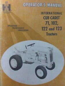 Ih International Cub Cadet 71 102 122 123 Lawn Garden Tractor Owners Manual Ebay
