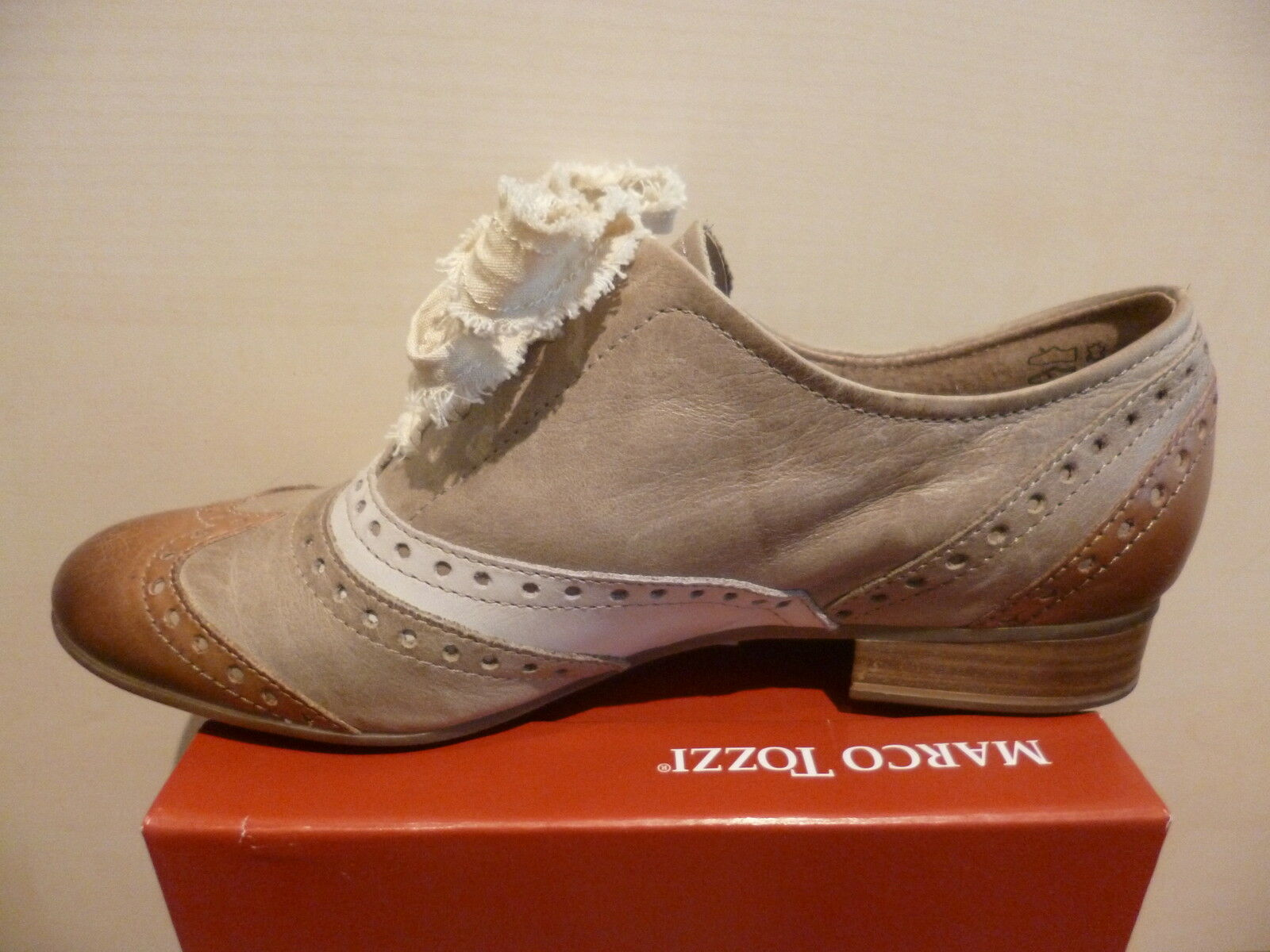 MARCO MARCO MARCO TOZZI Lace Up Sneakers Trainers Low shoes Beige Brown Real Leather NEW e07b87