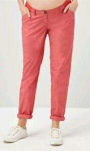 7fd3f6ec876d1 BN Next Maternity Coral Chino Trousers 14 R £25 * underbump | eBay