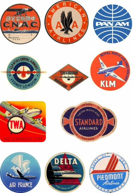 ddf767bb2843 Vintage Style Airline Travel Suitcase Luggage Labels Set Of 11 vinyl  stickers