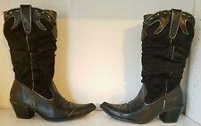 Splash Women Fashion Square Toe Cowboy Boots Black Sz 8.5 M