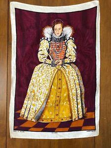 Vintage-Elizabeth-I-All-Linen-Tea-Towel-Lamont-Made-in-Ireland-19-034-x-30-034