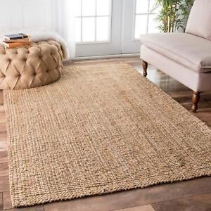 Details About Braided Indian Rug Rectangle Jute Floor Mat Handmade Reversible Area Floor Rug