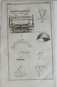 1766 Antiguo Estampado Cuña Tejer Telar Whispering Place Viento Diagramas Molino