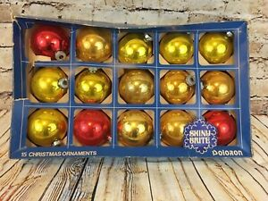 Details About Vintage Shiny Brite Glass Christmas Tree Ornaments Balls Gold Red Color 15 Count