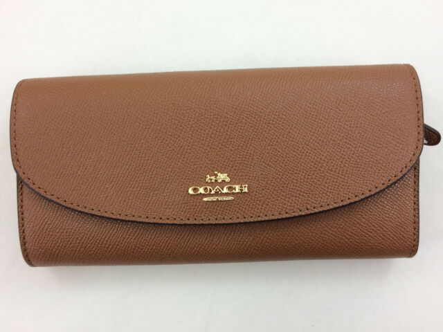 e892c8a52e Coach F54009 Crossgrain Leather Slim Envelope Wallet in Saddle