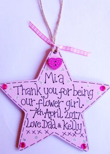 Personalised handmade star thank you cadeau demoiselle d/'honneur fleur fille demoiselle d/'honneur