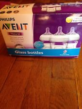 PHILIPS AVENT NATURAL 3 4OZ GLASS BOTTLE SET BPA FREE MADE IN USA ANTI-COLIC 0+M