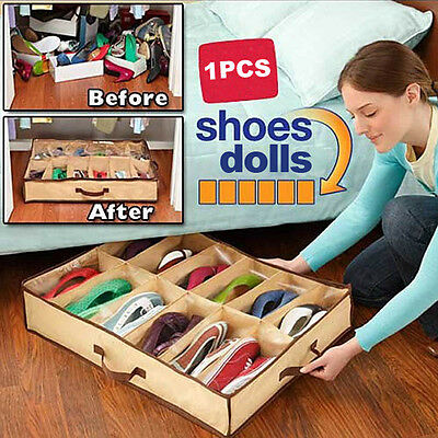 12 Pairs Shoes Organizer Holder Intake Under Bed Closet Storage Fabric Bag Box