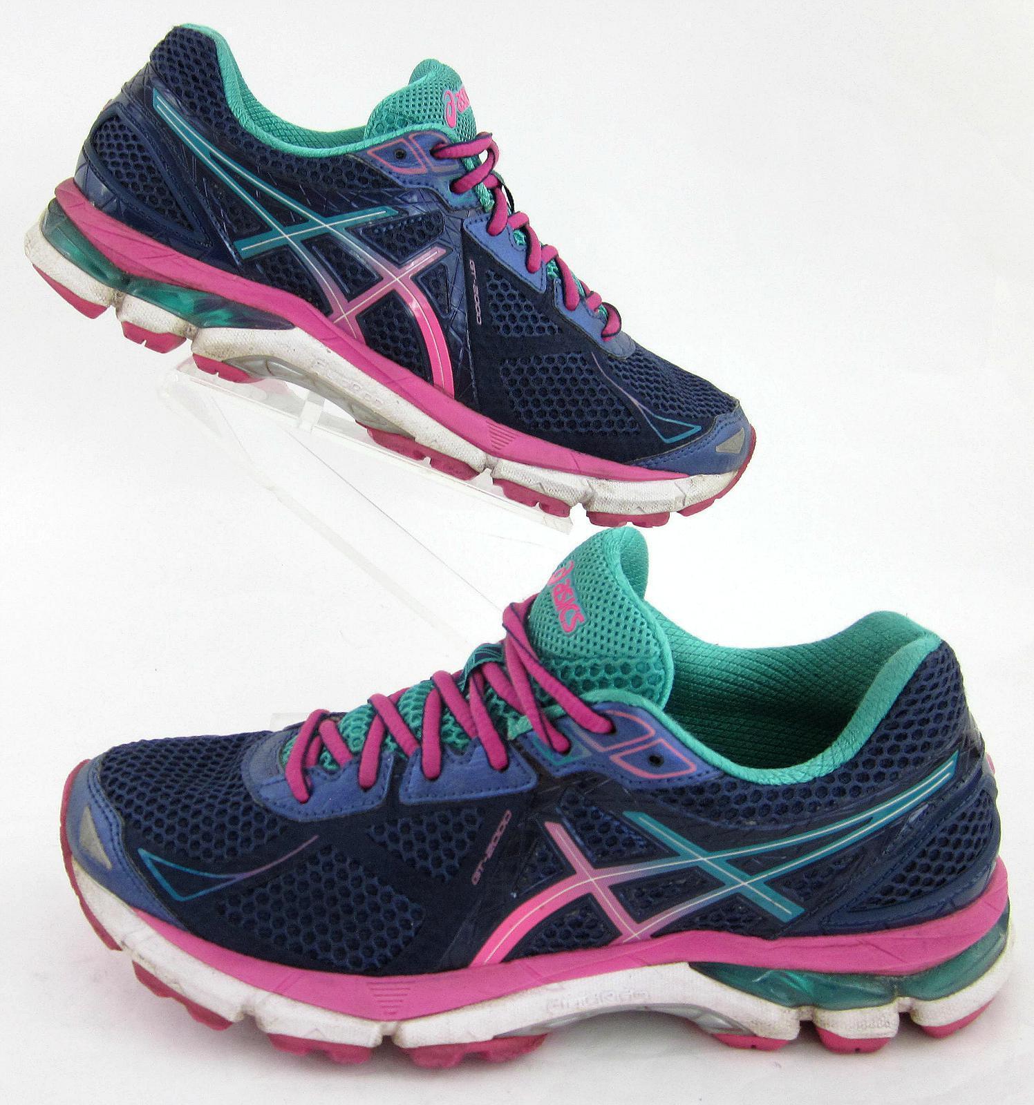 Asics GT-2000 V3 Womens Running shoes Navy Navy Navy bluee Hot Pink Green Sz 8 c3ac5f